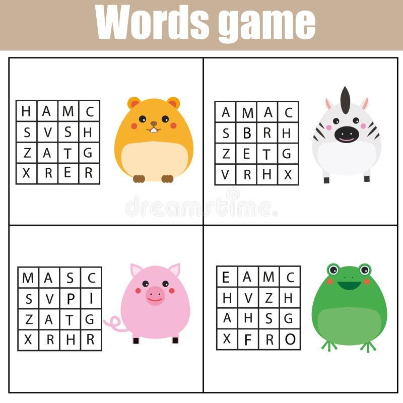 Jeu éducatif d'enfants Le puzzle de recherche de Word badine l'activité Thème d'animaux Étude du vocabulaire illustration stock