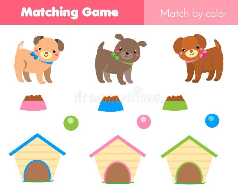 Jeu éducatif d'enfants Match par couleur Le thème d'animaux badine l'activité avec le chien de bande dessinée illustration de vecteur