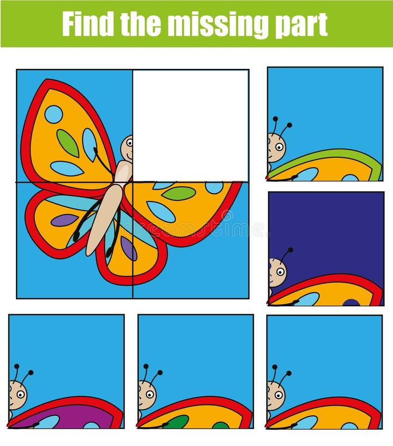 Jeu éducatif d'enfants Trouvez le morceau absent et complétez le tableau de la situation Le puzzle badine l'activité Thème d'anim illustration de vecteur