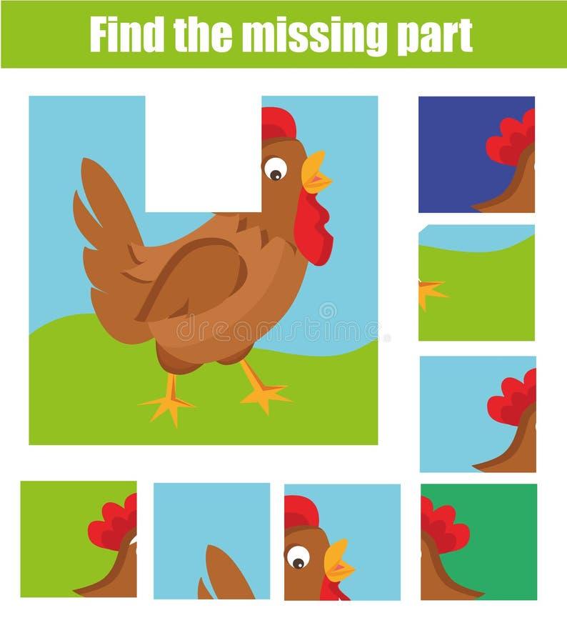 Jeu éducatif d'enfants Trouvez le morceau absent et complétez le tableau de la situation Le puzzle badine l'activité Thème d'anim illustration stock