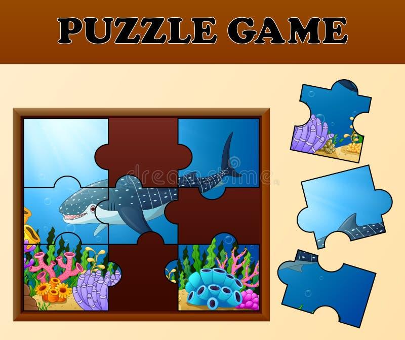 Jeu éducatif de casse-tête pour les enfants préscolaires avec le requin de baleine en monde sous-marin illustration libre de droits