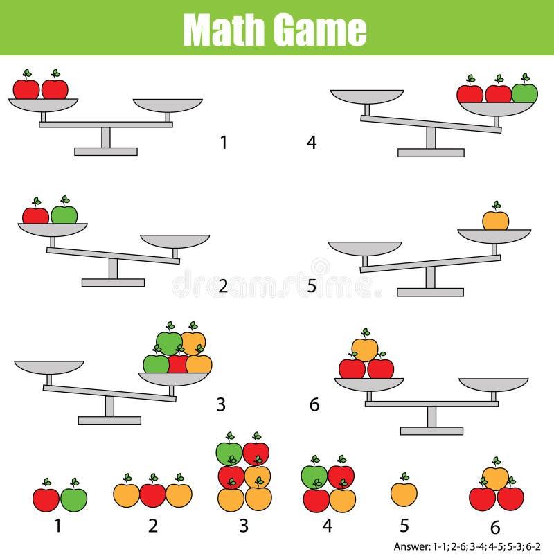 Jeu éducatif de mathématiques pour des enfants équilibrez l'échelle illustration libre de droits