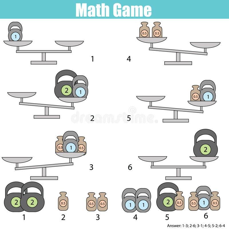 Jeu éducatif de mathématiques pour des enfants équilibrez l'échelle illustration stock