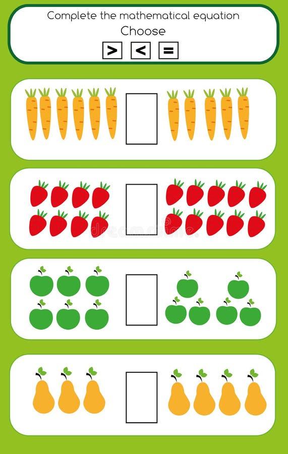 Jeu éducatif de maths pour des enfants Équation plus ou moins mathématique illustration de vecteur
