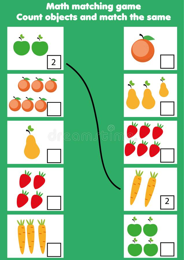 Jeu éducatif de maths pour des enfants Activité assortie de mathématiques compte du jeu pour des gosses illustration de vecteur
