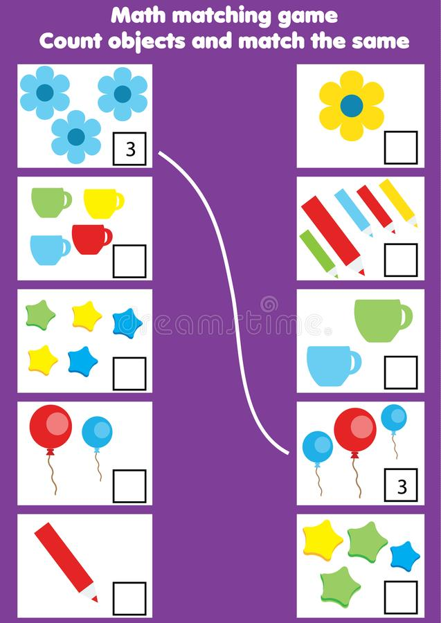 Jeu éducatif de maths pour des enfants Activité assortie de mathématiques compte du jeu pour des gosses illustration libre de droits