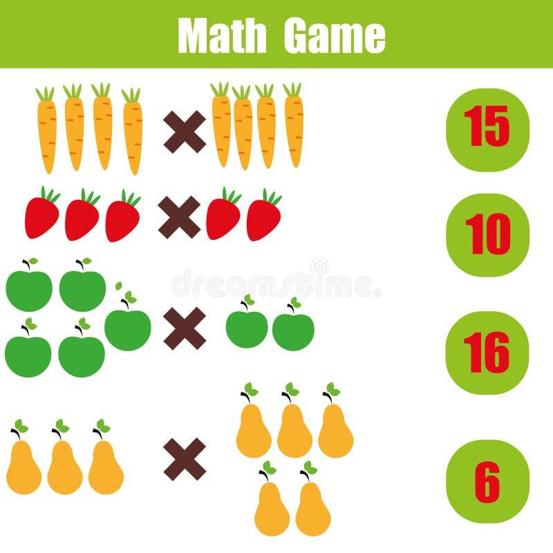 Jeu éducatif de maths pour des enfants, fiche de travail de mathématiques de multiplication illustration de vecteur