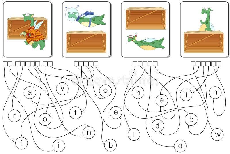 Jeu éducatif de puzzle avec le dragon Trouvez les mots cachés illustration de vecteur