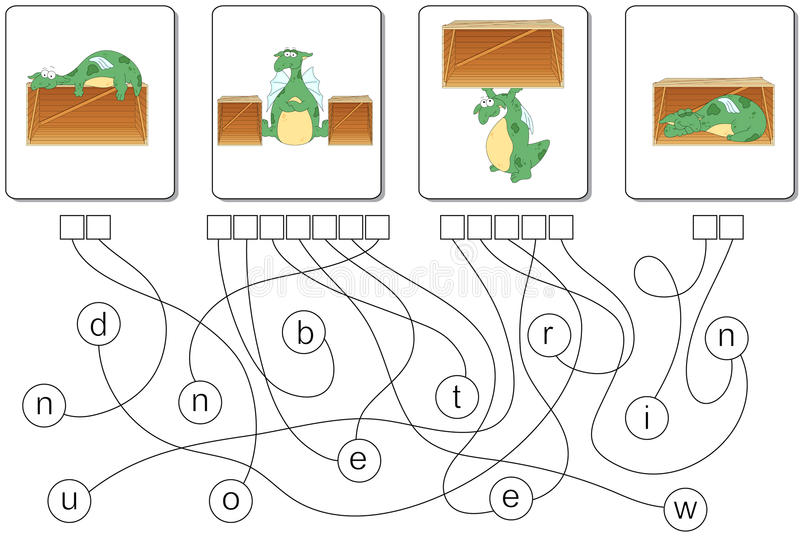 Jeu éducatif de puzzle avec le dragon Trouvez les mots cachés illustration libre de droits