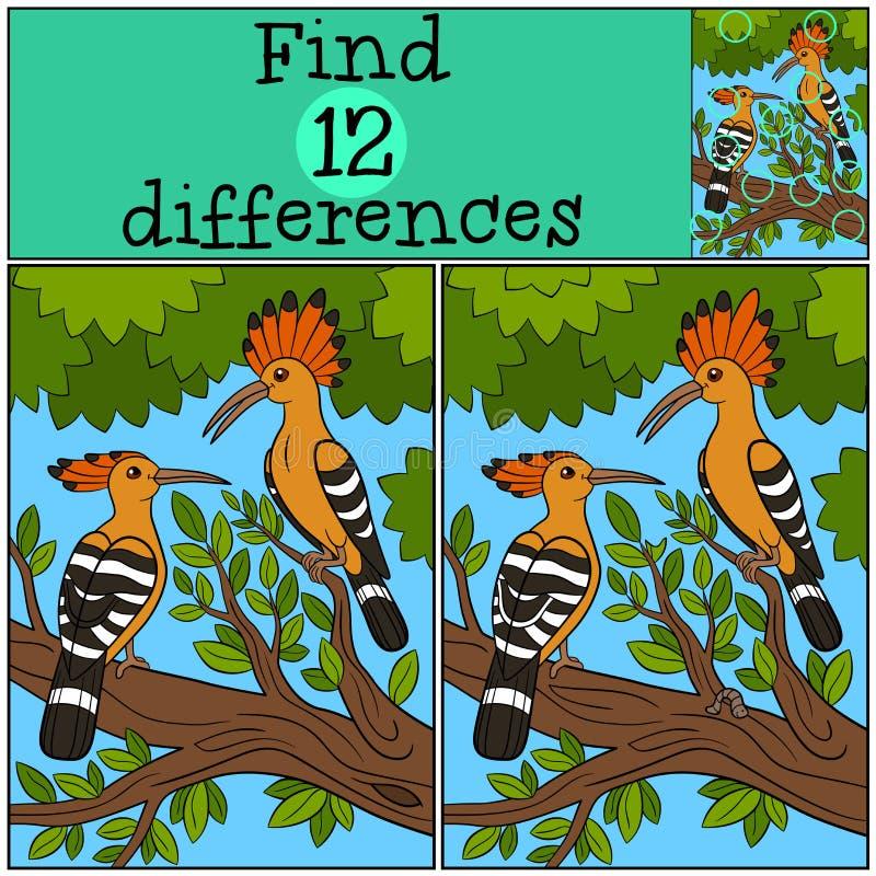 Jeu éducatif : Différences de découverte Belles huppes sur l'arbre illustration libre de droits
