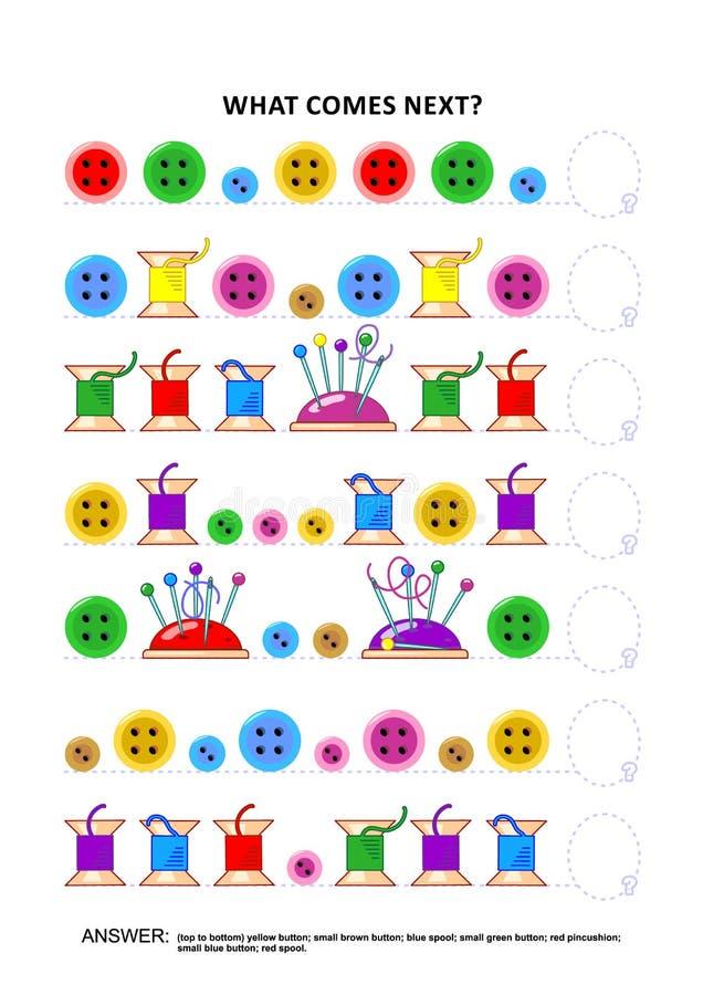 Jeu éducatif orienté de couture de logique - reconnaissance des structures séquentielle illustration de vecteur