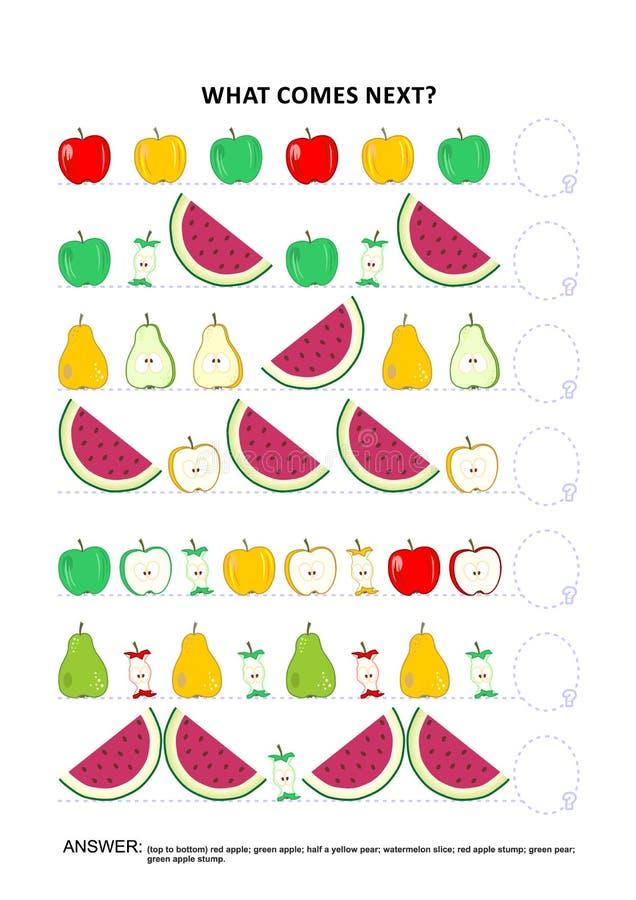 Jeu éducatif orienté de logique de fruit et de baie - reconnaissance des structures séquentielle illustration de vecteur