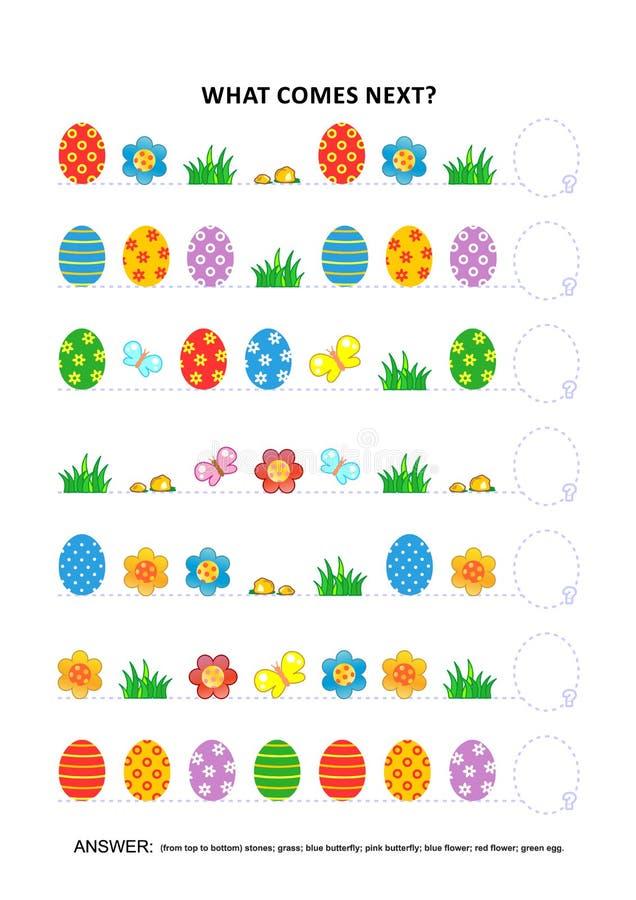 Jeu éducatif orienté de logique de Pâques - reconnaissance des structures séquentielle illustration libre de droits