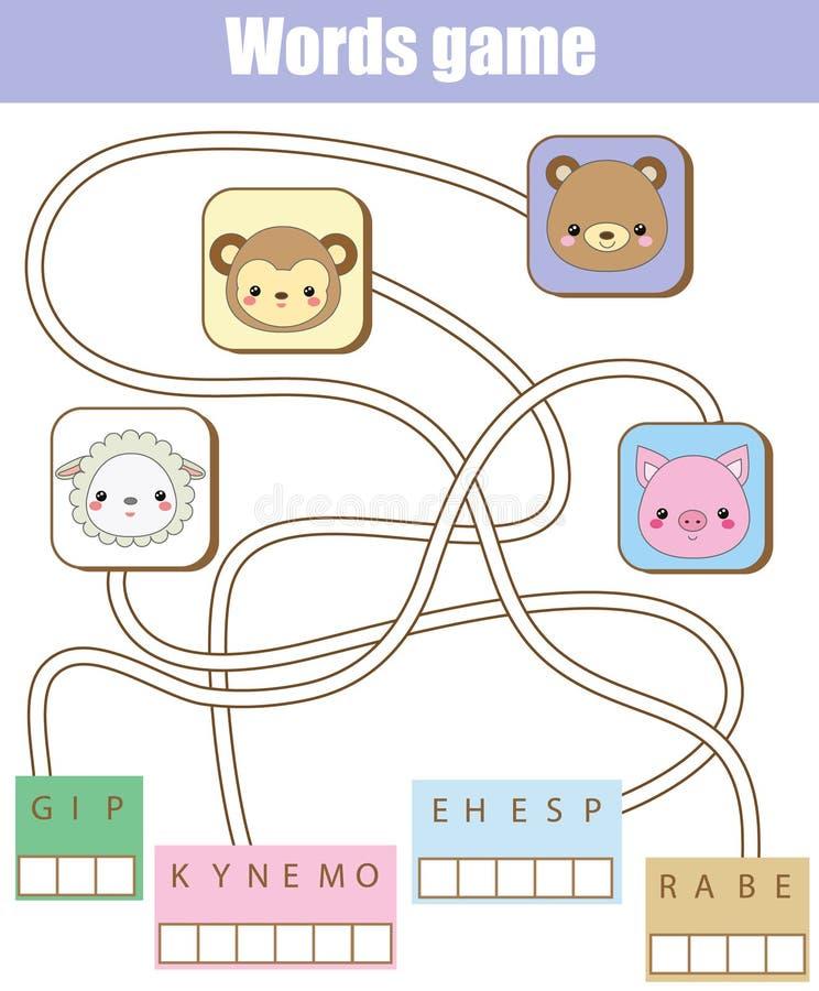 Jeu éducatif pour des enfants Activité de labyrinthe de Word Étude du thème d'animaux de vocabulaire illustration stock
