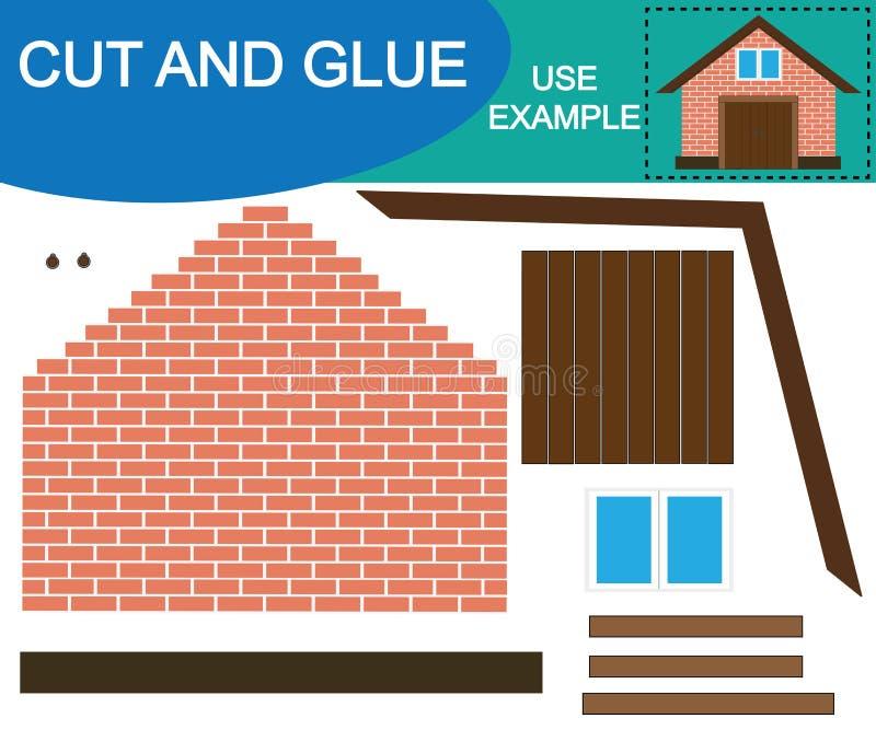 Jeu éducatif pour des enfants Créez l'image du bâtiment jeté utilisant des ciseaux et la collez Illustration de vecteur illustration de vecteur