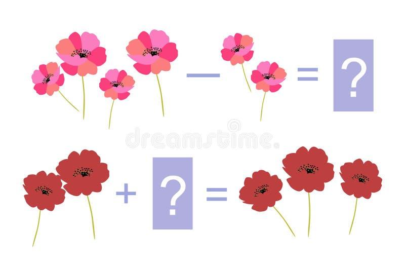 Jeu éducatif pour des enfants Exemples avec les fleurs lumineuses illustration stock