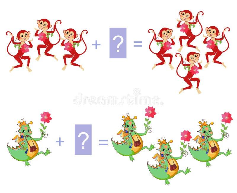 Jeu éducatif pour des enfants Exemples avec les singes et le Dino colorés mignons illustration libre de droits