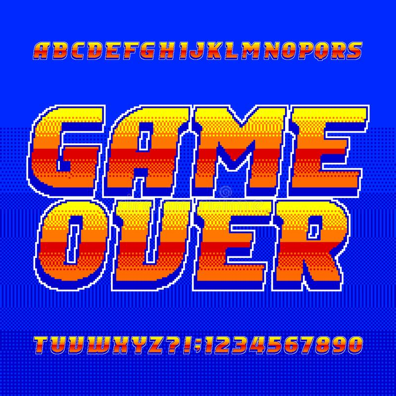 Jeu au-dessus de police d'alphabet Lettres et nombres de gradient de pixel illustration stock