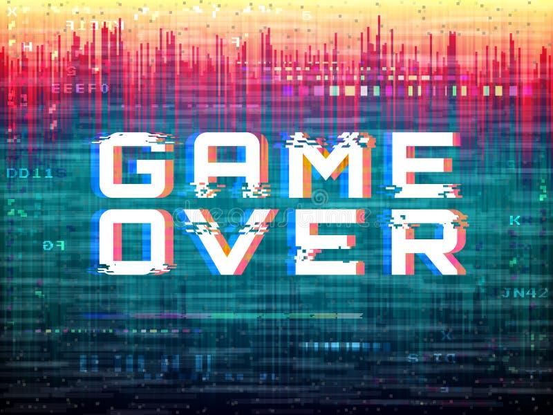 Jeu au-dessus de texte Problème de jeu vidéo Déformations de couleur et bruit de pixel Calibre d'erreur de Digital Rétro effet de illustration stock