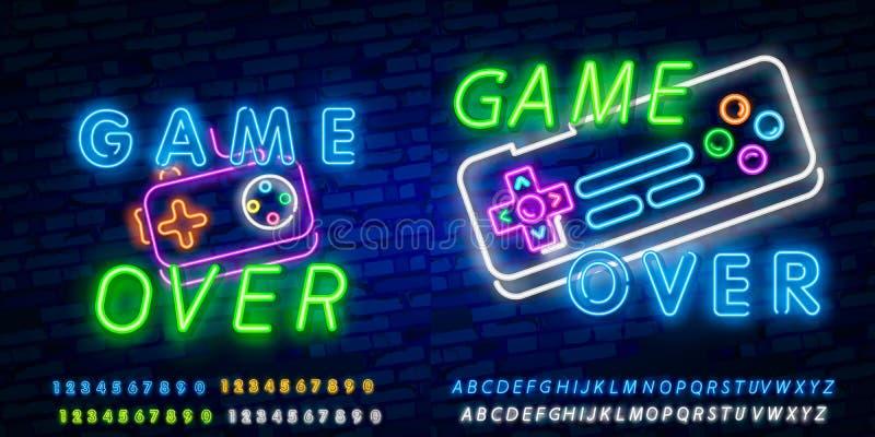 Jeu au-dessus du vecteur au néon des textes Jeu au-dessus d'enseigne au néon, calibre de conception de jeu, conception moderne de illustration libre de droits