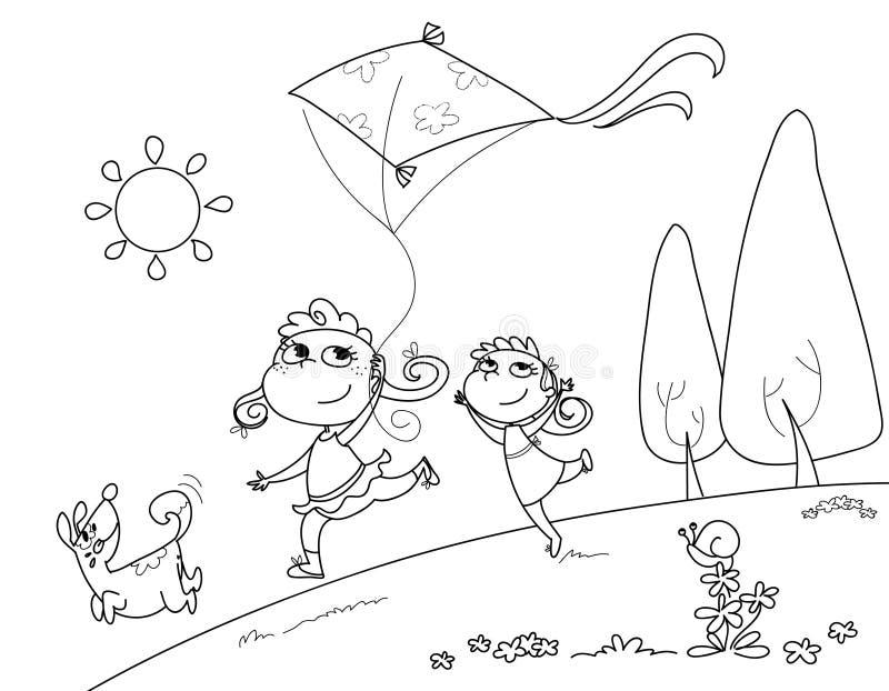 Jeu avec le cerf-volant illustration de vecteur