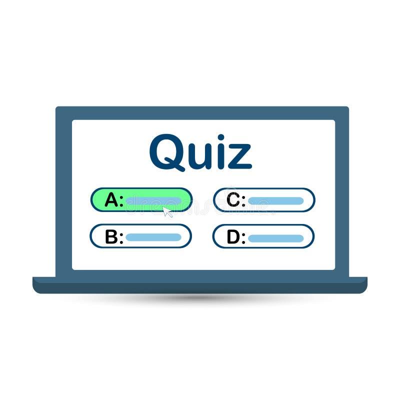 Jeu-concours sur votre ?cran d'ordinateur avec des choix de r?ponse Illustration de vecteur illustration libre de droits