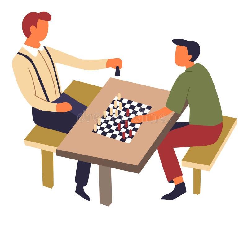 Jeu d'échecs de passe-temps et de sport sur la concurrence intellectuelle de table illustration stock