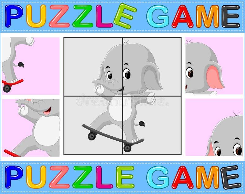 Jeu d'éducation de casse-tête pour les enfants préscolaires avec l'éléphant illustration de vecteur