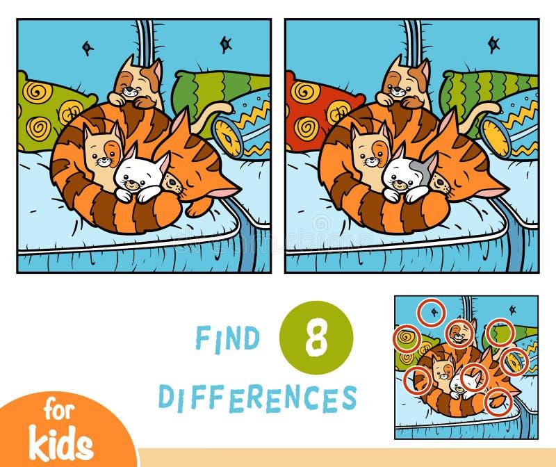 Jeu d'éducation de différences de découverte, quatre chats illustration de vecteur