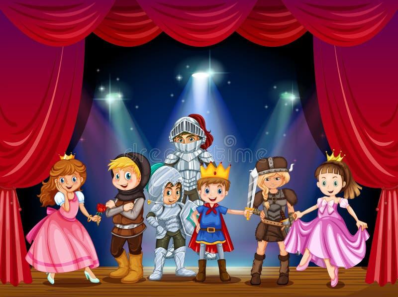 Jeu d'étape avec des enfants dans des costumes illustration libre de droits