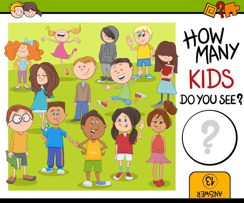 Jeu d'activité de combien d'enfants illustration stock