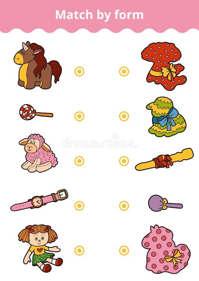 Jeu d'assortiment, jeu d'éducation pour des enfants Reliez les jouets du ` s de fille illustration libre de droits