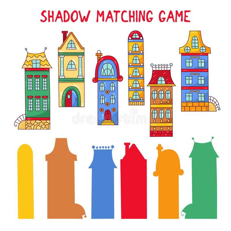 Jeu d'assortiment d'ombre avec des bâtiments de ville illustration libre de droits