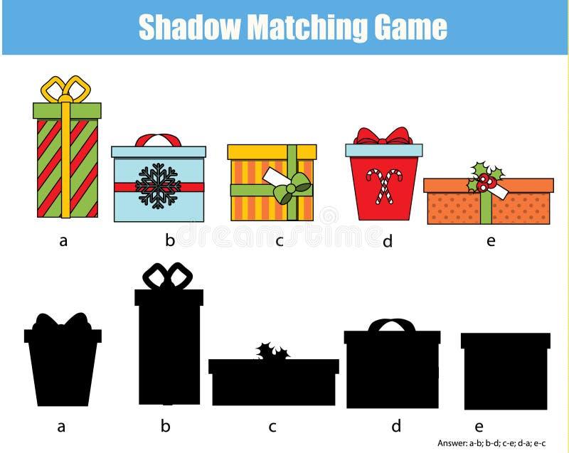 Jeu d'assortiment d'ombre Badine l'activité avec des boîte-cadeau Noël, thème de nouvelle année illustration de vecteur