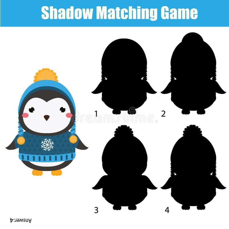 Jeu d'assortiment d'ombre Badine l'activité avec le pingouin mignon d'hiver illustration de vecteur