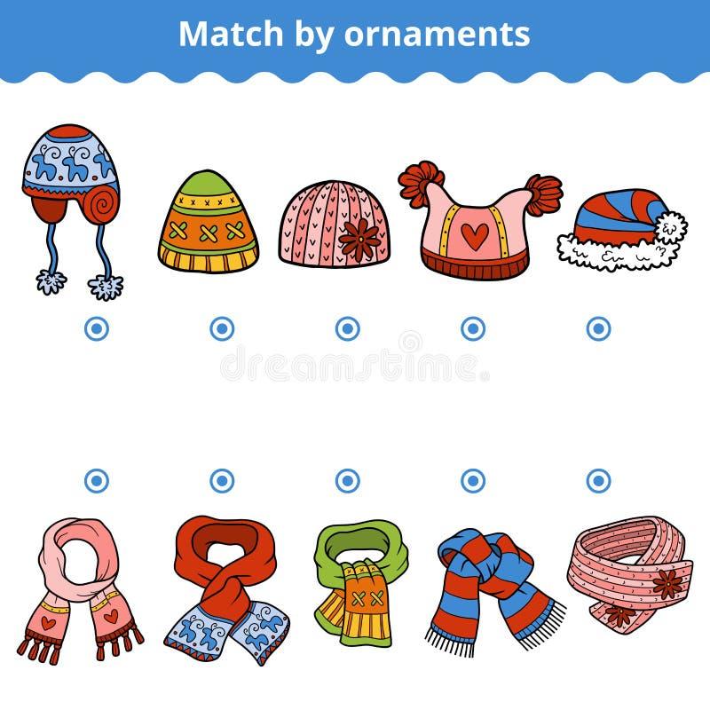 Jeu d'assortiment pour des enfants Assortissez les écharpes et les chapeaux illustration de vecteur