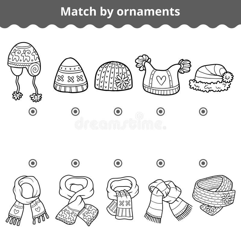 Jeu d'assortiment pour des enfants Assortissez les écharpes et les chapeaux par l'ornement illustration stock