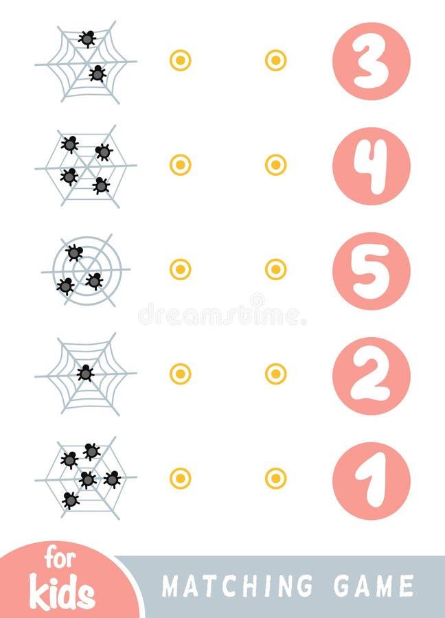 Jeu d'assortiment pour des enfants Comptez combien d'araignées sont dans l'image et choisissez le nombre correct illustration libre de droits