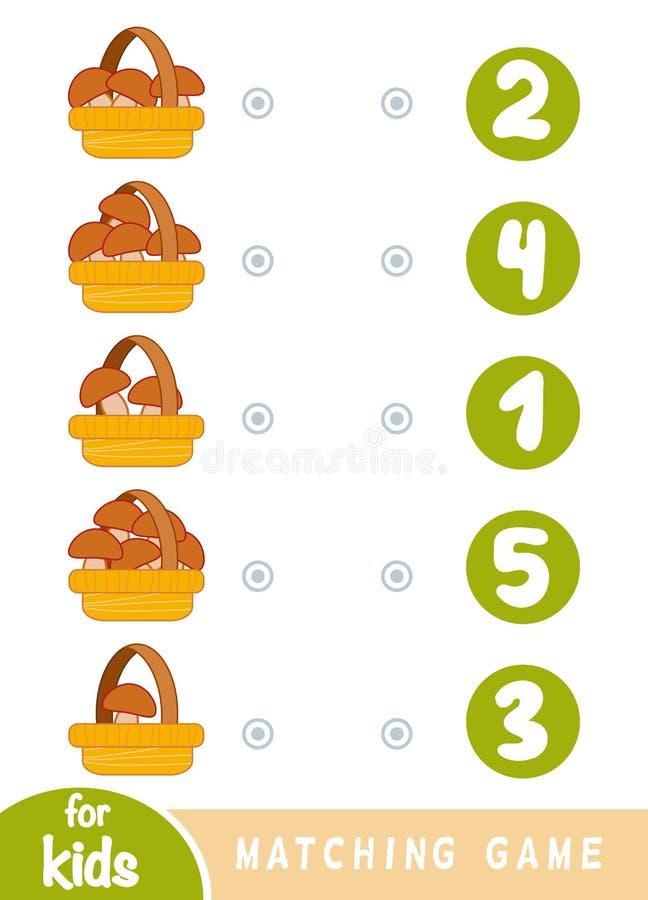 Jeu d'assortiment pour des enfants Comptez combien de champignons dedans dans les paniers et choisir le nombre correct illustration libre de droits