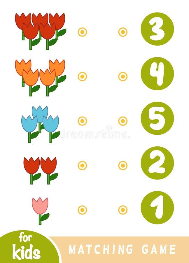 Jeu d'assortiment pour des enfants Comptez combien de fleurs et choisir le nombre correct illustration stock