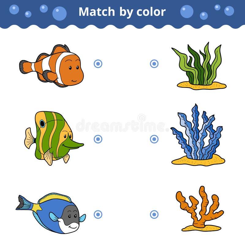 Jeu d'assortiment pour des enfants Match par couleur, poisson illustration de vecteur