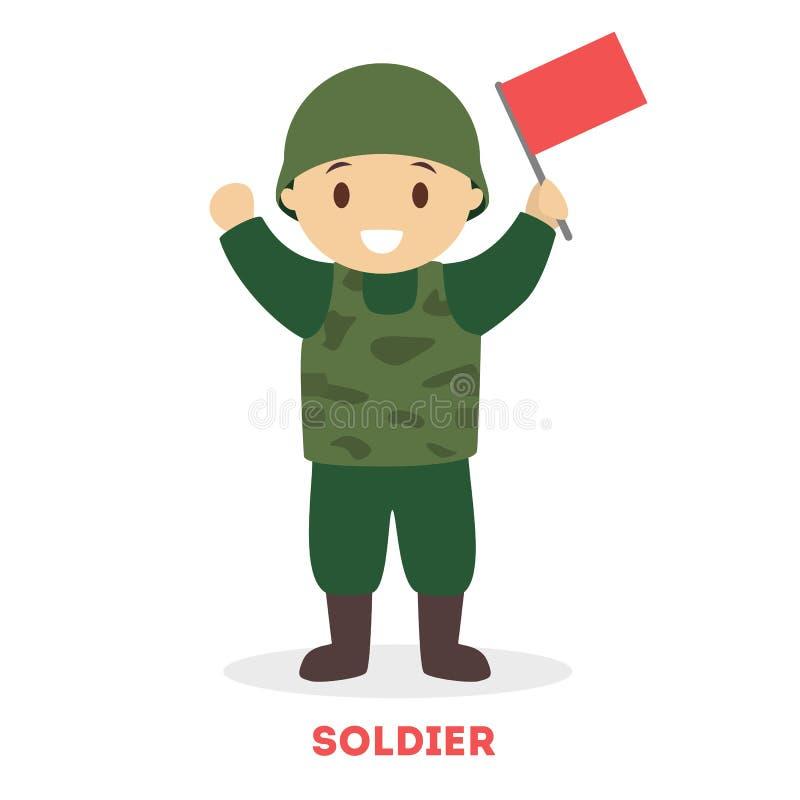Jeu d'enfant en tant que soldat Position de gar?on en vert illustration libre de droits