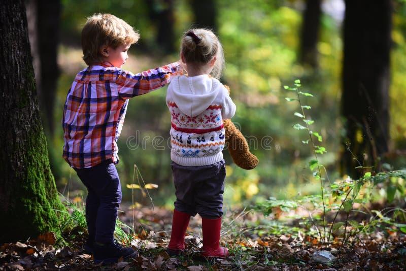 Jeu d'enfants dans des amis d'enfants de forêt d'automne campant en bois photos stock