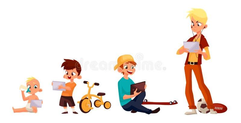 Jeu d'enfants dans le smartphone ou le comprimé illustration de vecteur