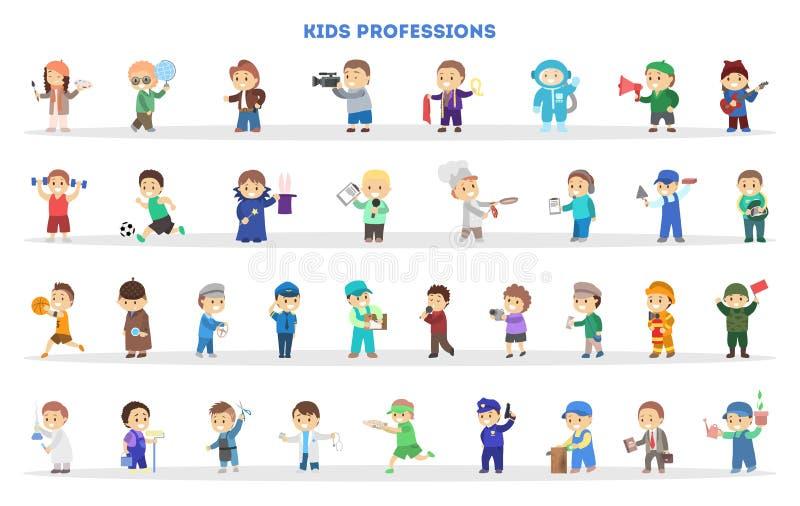 Jeu d'enfants en tant qu'ensemble différent de travailleur Ramassage de gosses illustration stock
