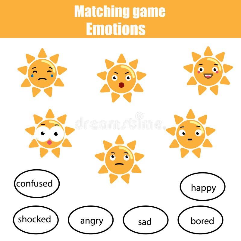 Jeu d'enfants, soleil de match et humeur éducatifs assortis Étude des émotions et du thème de vocabulaire illustration de vecteur