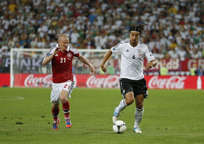 Jeu 2012 d'EURO de l'UEFA Allemagne contre le Danemark images libres de droits