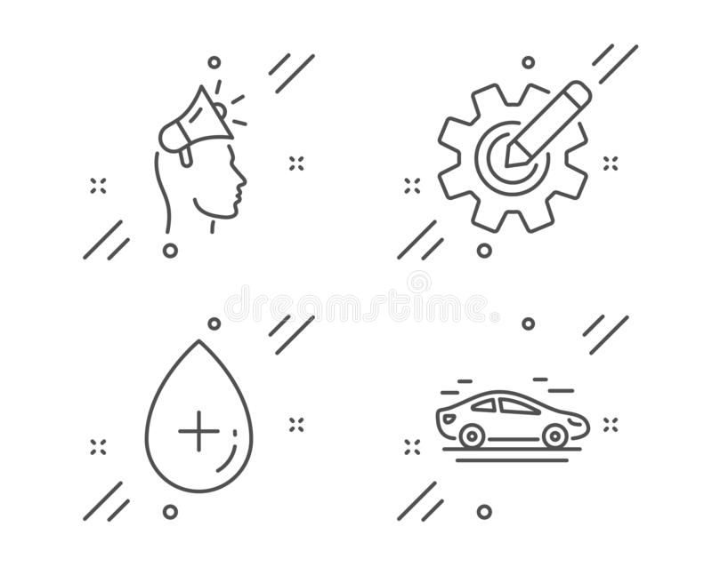 Jeu d'icônes Cogwheel, Oil serum et Brand ambassades Signe de voiture Modifier les paramètres, Soins cosmétiques, Mégaphone Vecte illustration libre de droits