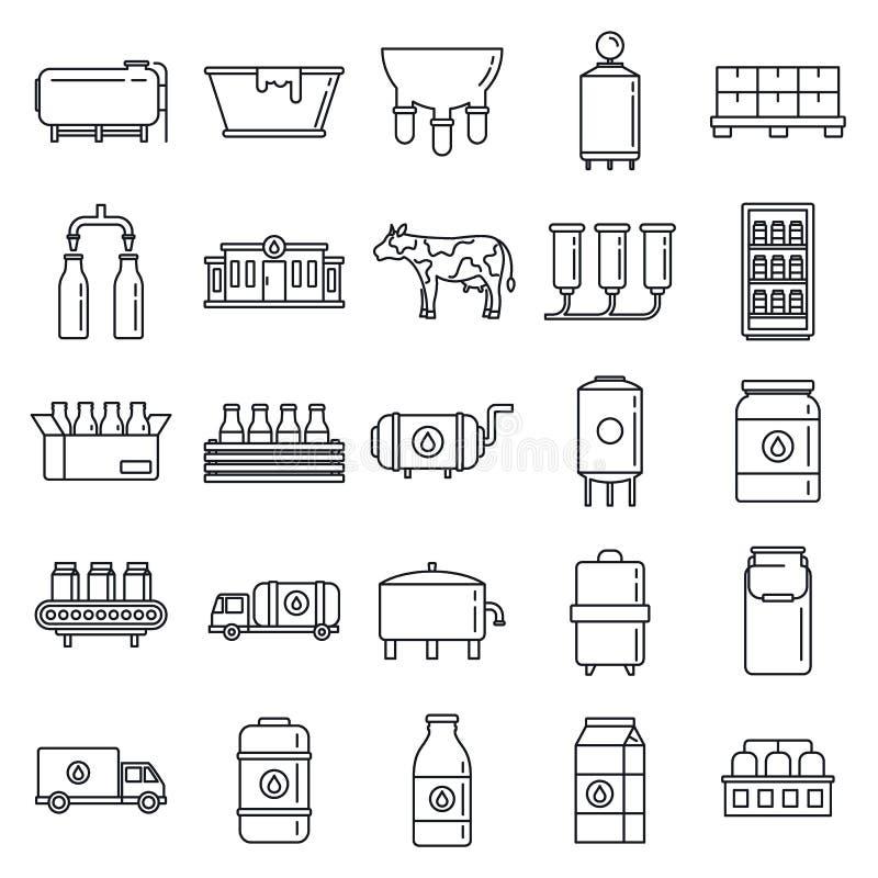 Jeu d'icônes de fabrique de lait industriel, style hiérarchique illustration stock