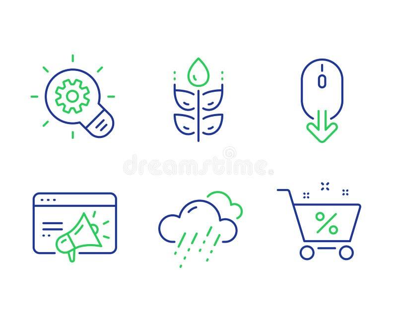 Jeu d'icônes de marketing sans gluten, Cogwheel et Seo Défiler vers le bas, météo pluvieuse et panneaux de pourcentage de prêt Ve illustration libre de droits